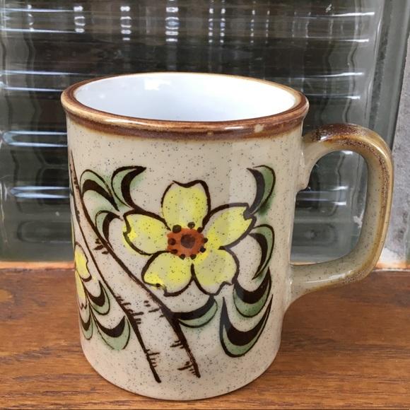 Vintage Floral Hand-painted Ceramic Mug!